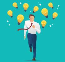 Geschäftsmann, der mit Glühlampen, Konzept der Kreativität, des Wettbewerbs und der Innovation läuft