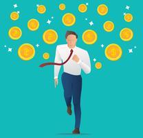 Geschäftsmann, der mit Münzen, modischer isometrischer Geschäftsmann, Konzeptgeschäfts-Vektorillustration läuft