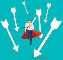 affärsman konflikt aggressivt hållande svärd med fallande pilen, framgång affärsidé.