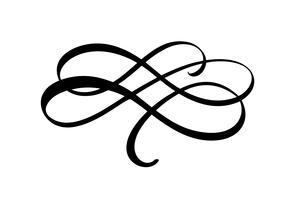 Vektor kalligrafi element blomstra. Handdragen divider för siddekoration och ramdesign illustration swirl prydnad. Dekorativt för bröllopskort och inbjudningar