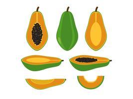 Sats av papaya isolerad på vit bakgrund - Vektor illustration