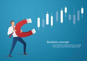 Affärsman innehav magnet locka till ljusstake diagram bakgrund, begrepp aktiemarknad, vektor illustration