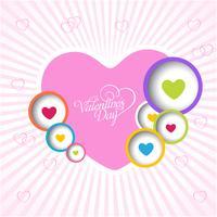 Lycklig valentins dag kärlek hälsningskort med färg full hjärta. Vektor