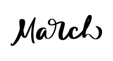 Mars Handritad kalligrafi text och penselpennbokstäver. design för semesterhälsningskort och inbjudan till säsongens vårkalender