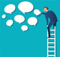 Affärsidé vektor illustration av en man på stege med chat box moln bakgrund