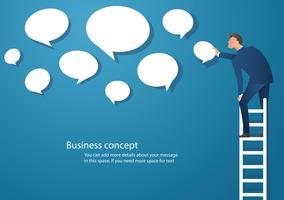 Geschäftskonzept-Vektorillustration eines Mannes auf Leiter mit Chatbox-Wolkenhintergrund