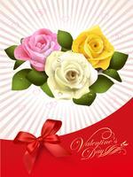 Design för lyckliga valentins dag Kort med ros på abtrahera bakgrund, vektor