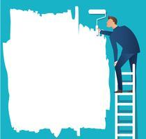 Ein Mann auf Leiter malt mit einem Farbroller vektor