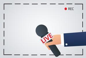 Nachrichtenillustration auf Fokusfernsehen und leben mit Kamerarahmenaufzeichnung. Reporter mit Mikrofon, Journalistensymbol vektor