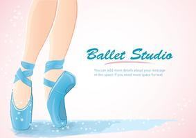 Frauenbein-Ballerinahintergrund, Ballettlogoikone für Ballettschultanzstudio-Vektorillustration