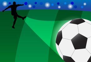 Vektor des Schattenbildfußballspielers, der den Ball auf dem Gebiet schießt