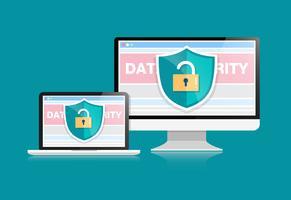 Konceptet är datasäkerhet. Sköld på datorns skrivbord eller labtop skyddar känsliga data. Internet säkerhet. Vektor Illustration