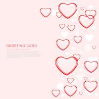 Glückliche Valentinstagliebe Grußkarte mit rotem Herzen auf rosa Hintergrund, Vektor-Design