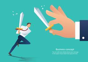 Geschäftsmann Konflikt aggressive Holding Schwert mit dem Kollegen kämpfen, Geschäftsmann Kampf Chef bei der Arbeit Vektor-Illustration