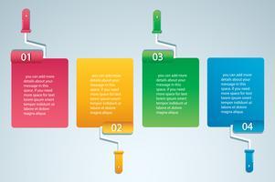 Farbroller mit Platz für Text-Info-Grafik Vektor-Vorlage mit 4 Optionen. Kann für Web, Diagramm, Grafik, Präsentation, Diagramm, Bericht, Schritt für Schritt Infografiken verwendet werden