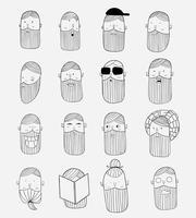 Vektorthema Ein Mann mit einem Schnurrbart und einem Bart