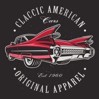 Amerikansk bil på svart bakgrund.