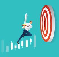 affärsman som håller svärd på ljusstaken graf för att mål bågskytte, begrepp av börsen vektor illustration