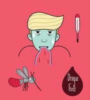 Den manliga tecknade bilden är mycket allvarlig med denguefeber.