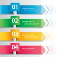 Pfeil Infographik Konzept. Vektor Vorlage mit 4 Optionen, Teile, Stufen, Schaltflächen. Kann für Web, Diagramm, Grafik, Präsentation, Diagramm, Bericht, Schritt für Schritt Infografiken verwendet werden. Abstrakter Hintergrund.
