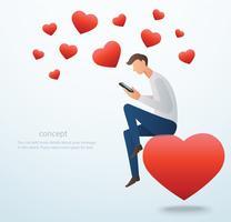 man som håller en smartphone sitter på det röda hjärtat och många hjärtat vektor illustration