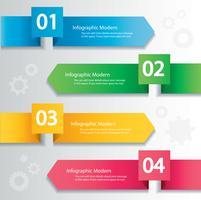 Arrow infographic koncept. Vektor mall med 4 alternativ, delar, steg, knappar. Kan användas för webb, diagram, diagram, presentation, diagram, rapport, steg för steg infographics. Abstrakt bakgrund.