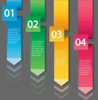 Arrow infographic koncept. Vektor mall med 4 alternativ, delar, steg, knappar. Kan användas för webb, diagram, diagram, presentation, diagram, rapport, steg för steg infographics. Abstrakt bakgrund