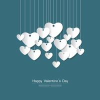 Glückliche Valentinstaggrußkarte mit weißem Herzpapier schnitt Art auf grünem Hintergrund, Vektor Desgin