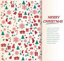 Jul hälsningskort med utrymme mönster bakgrund vektor illustration