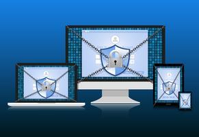 Konceptet är datasäkerhet. Sköld på dator, Labtop Samart telefon och Tablet skyddar känsliga data. Internet säkerhet. Vektor illustration.