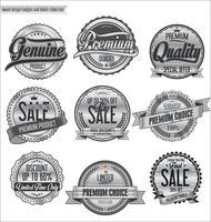 Retro Vintage Abzeichen und Etiketten-Auflistung