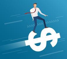 Geschäftsmannfahrt auf Dollarikone und blauen Hintergrund, Geschäftskonzept-Illustrationsvektor