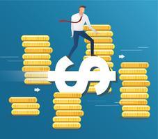 Geschäftsmannfahrt auf Dollarikone und Münzenhintergrund, Geschäftskonzept-Illustrationsvektor