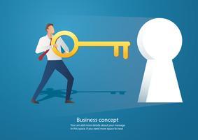 affärsman som håller den stora nyckelvektorn vektor