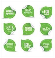 Eco Vintage Labels Bio-Vorlagensatz Ökologie Retro-Design vektor