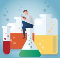 das Mannlesebuch, das auf Glaswaren für chemische Vektorillustration sitzt