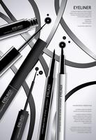 Kosmetisk Eyeliner med Förpackning Poster Design Vektor Illustration