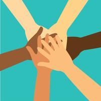 Leute, die ihre Hände zusammenfügen