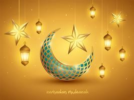 Islamisk halvmåne och lyktor vektor