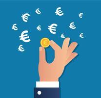 Hand, die Goldmünze und Eurozeichenikonenvektor, Geschäftskonzept hält