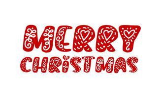 Frohe Weihnachten handgezeichnete Schriftzug Text. Vektorabbildung Weihnachtskalligraphie auf weißem Hintergrund. Lokalisiertes kalligraphisches Element für Fahne, Postkarte, Plakatdesigngrußkarte
