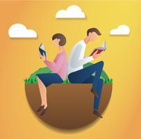 Mann und Frau sitzen im Park und lesen Buch