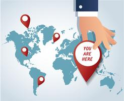 hand holding pin ikon med karta bakgrund vektor