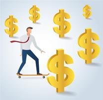 Geschäftsmann auf Skateboard mit Dollargeldikonen-Vektorillustration vektor
