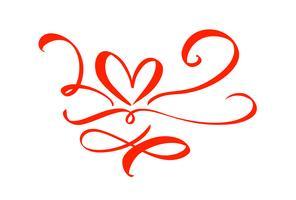 Hand gezeichnetes Herzliebeszeichen. Romantische Kalligraphie-Vektor-Illustration. Concepn-Ikonensymbol für T-Shirt, Grußkarte, Plakathochzeit. Flaches Element des Designs des Valentinstags