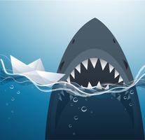 Papierboot und Haifisch in der blauen Seehintergrundvektorillustration