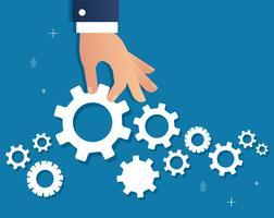 Hand, die Gänge und Hintergrund, eine Geschäftskonzept-Vektorillustration hält