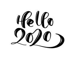 Handtecknad vektor bokstäver kalligrafi svart nummer text Hej 2020. Gott nytt år hälsningskort. Vintage julillustration design
