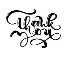 Danke, gezeichneten Vektortext zu übergeben. Modisches Handbeschriftungszitat, Modegraphiken, Vintager Kunstdruck für Poster und Grußkarten entwerfen. Kalligraphisch getrennt in der schwarzen Tintenabbildung