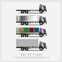 Sats med lastbil Transport med container isolerad vektor illustration